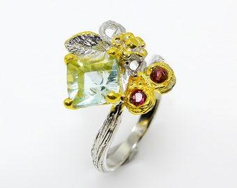 Garnet ring, Twig branch ring, nature inspired, botanical fluorite ring, flower ring, leaf ring, cluster ring birthday gift mom, gemstone