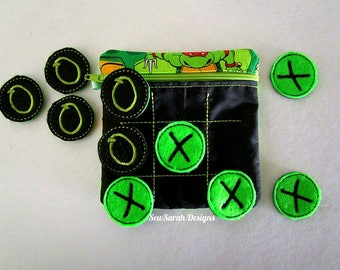 ITH Tic Tac Toe game purse and pieces (5x7) machine embroidery Instant digital download