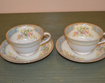 Noritake Cerulean Rose China Cups and Saucers Set of 2