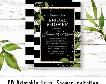 Bold Botanical Bridal Shower Invitation | DIY Digital Print at Home Invitation
