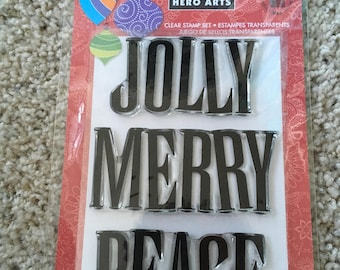 "Hero Arts ""Jolly"" clear stamp set, new"