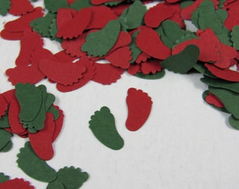 Christmas Baby Shower Decor - Holiday Baby - Red and Green Baby Feet Confetti