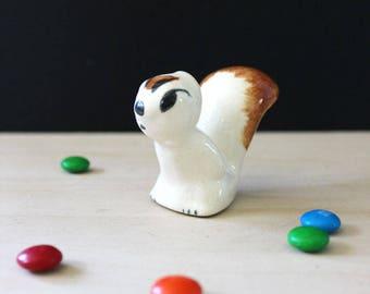 Little Rio Hondo pottery squirrel figurine, 1940s animal decor.