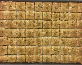 Turkish Homemade Baklava from Turkish Family - 80 oz - 5 lb (60-62 Square Baklava)