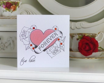 "Tattoo Style ""Forever"" Anniversary Card"