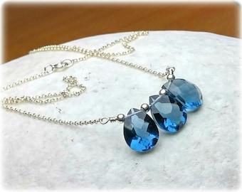 Gemstone Necklace, Sapphire Blue Quartz Necklace, Something blue for bride, Bridal, Wedding Necklace, Wedding Jewelry, Crystal Necklace