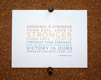 """Set of 10 / Inspirational Cards with Quote by Desmond Tutu """"Goodness is stronger than evil, love is stronger than hate..."""""""