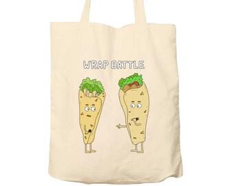 Tote Bag Wrap Battle, Food Puns, Cotton Food Bag, Bag For Life, Tote Bag Funny, Illustrated Tote