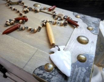 PALNATOKE. The Archer's Amulet. Ceramic Arrowhead Necklace. Howlite Spears. Rosary Chain. Bone Pipe Bead. Unisex Necklace. Handmade Tribal