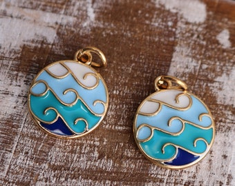 2 ocean wave charms, enamel charms, summer charms, 22mm ×16mm