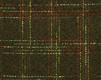 Wool Fabric by Yard Olive Plaid with Red Stripes (Winter Coat)