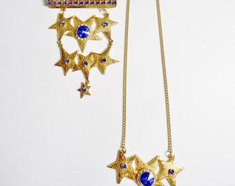 Vintage Ultracraft Blue Rivoli Shoulder Pin & Necklace Set for 4th Of July - Big Ultracraft Rivoli Brooch and Pendant Set - July 4th Jewelry