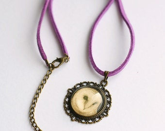 Purple Owl Necklet, Barn Owl Necklace, Owl Gift, Vegan Suede Necklace, Barn Owl Jewellery, Purple Cord Necklace, Amanda Drage Art