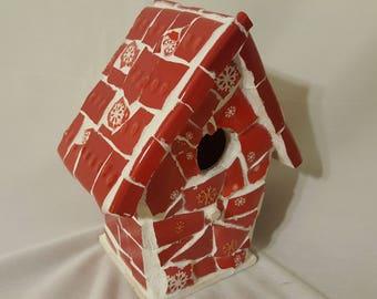 Christmas mosaic red bird house