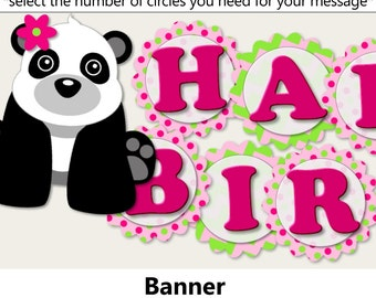 Pink Girl Panda Baby Shower BANNER or Panda Birthday Party Decorations - Party Favors, Invitation, Banner, Party Hat, cupcake toppers