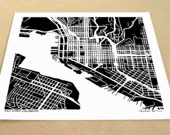 San Diego Map, Hand-Drawn Map of San Diego California