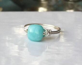 Small Peruvian Opal Ring | Aquamarine Ring | Soft Teal Ring | Square Ring | Blue Green Ring | Aqua Ring | Tropical Blue Ring | Boho Ring