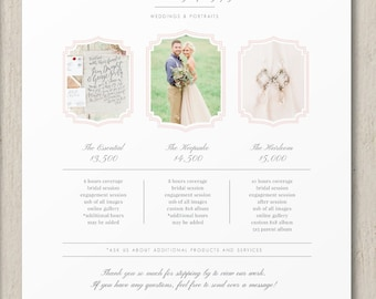 Photography Pricing Template - Wedding Photographer Pricing Guide - Customizable Price List - Photography Branding