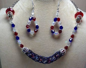 Patriotic Red White And Blue Necklace And Earring Set