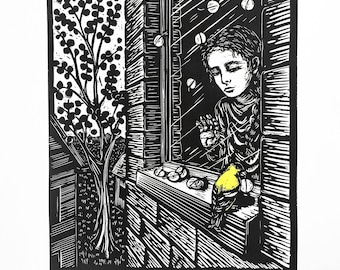 Girl and goldfinch linocut print