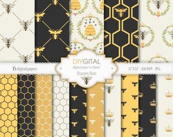 "Bee Digital Paper Set: ""Queen Bee"" - 15 Printable digital papers for scrapbooking, invites, cards - 12""x12""  300dpi- Instant Download"