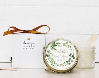 Set of 6 - 4 oz - Sugar Scrub Favor - All-Natural, Vegan - Botanical Greenery Design | Botanical Baby Shower Favor | Greenery Shower Favor