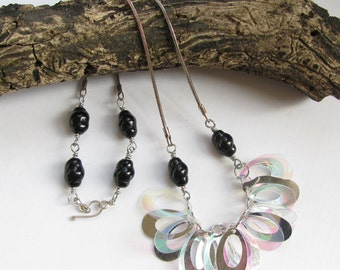 Black and Silver Necklace with Clear Oval Dangles