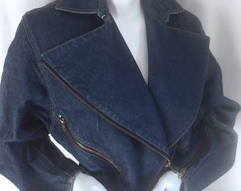 Alaia Denim Jacket w MOTO Cropped Trench w Zippers Galore & Tiny Peplum Waist- Stonewashed ICONIC Jean Jacket RARE Azzedine Alaia Circa 1983
