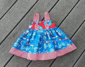 Dr. Seuss Dress - Dr. Seuss Birthday - 1st Birthday Dress - Toddler Girl Dress - Cat in The Hat Dress - Girls Knot Dress - Groovy Gurlz