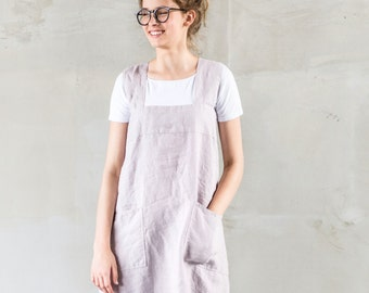 Pinafore / Square cross linen apron /japanese style apron / Washed long linen apron in ashes of rose