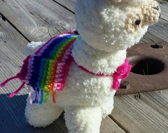Amigurumi Alpaca,Custom made,Stuffed Alpaca,Alpaca Toy,Alpaca,Fluffy Alpaca,Alpaca with Striped Blanket,Llama stuffy,Llama toy,