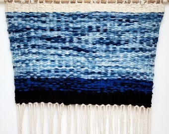 Handmade Tapestry Weaving Wall Hanging/Decor - White, Turquoise, Blue, Black Silk Chiffon