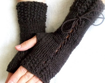 Coffee Brown Handknit  Fingerless Gloves Merino Corset  Wrist Warmers Women