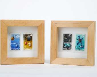 Retro Space Age Framed Stamps. Reclaimed Timber Frames and Upcycled Stamps