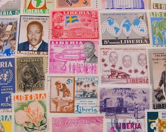 Black Power 50 Premium Vintage Liberian Postage Stamps Republic of Liberia Africa Monrovia Black History Scrapbooking African Philately