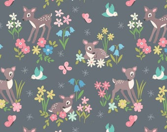 Sew Darling! - A286.3 - Little Deer on Grey - from Lewis & Irene