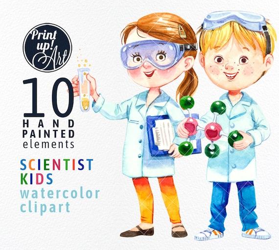 science clipart watercolor scientist kids clipart boy and rh etsy com Food Science Clip Art Science Clip Art School