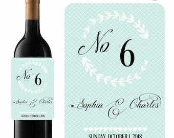 Wedding Wine Labels Table Numbers Elegant Blues Designer Labels Waterproof Vinyl