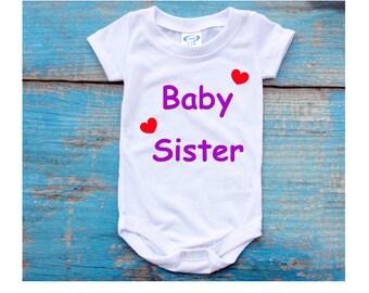 Baby Sister Hearts Onesie Bodysuit Sleeper