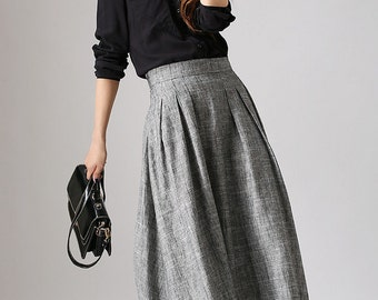 Gray linen skirt, linen skirt, long linen skirt, pleated skirt, A line skirt, office skirt, womens skirt, High waisted skirt  (886)