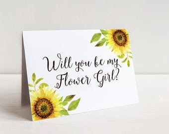 Will You Be My Flower Girl Proposal, Sunflower Wedding, Rustic Wedding Sunflower Watercolor Wedding, Bridesmaid Request Maid of Honor Card