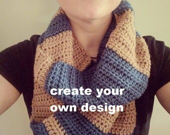 Create your own design - Crochet Mixed Stripes Infinity Scarf