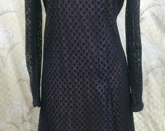 Vintage 1980s Black Lace Dress/Rhinestone Buttons/!960s Style Dress