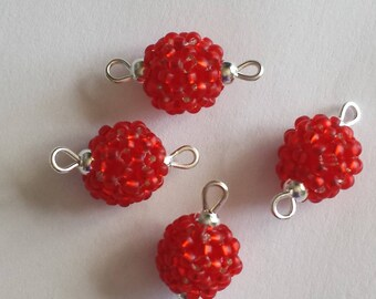 4 beads seed connectors (2mm) silver lined red