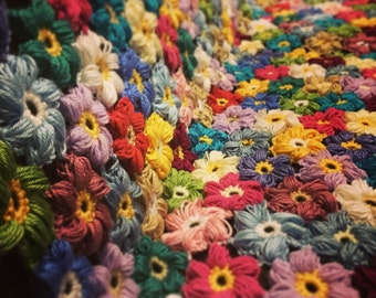 Crocheted colorful flower afghan - blanket - throw - made to order
