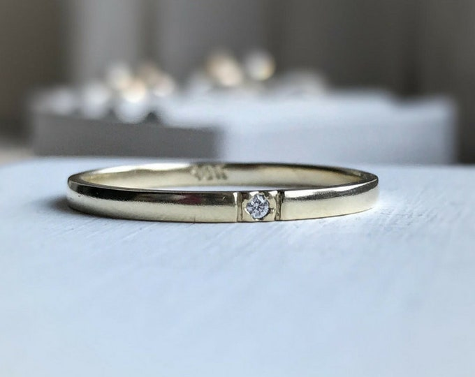 Featured listing image: Single Canadian Diamond Wedding Band - Made to order - In Ethical Gold