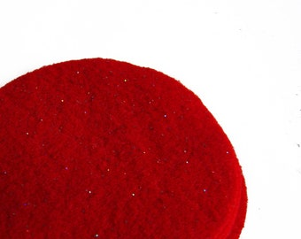 "30 pcs, 3"" Hand cut Fabric Circles - Red Glitter Felt"