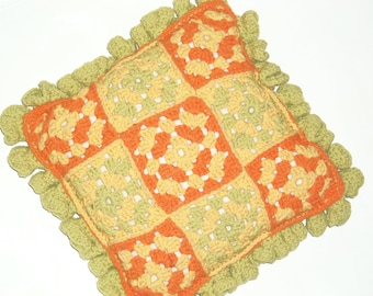 Vintage Pillow Granny Square Crocheted Vintage 1960 Handmade USA Lime Orange Yellow Over 50 Years Old Collectible Granny Square Needlework