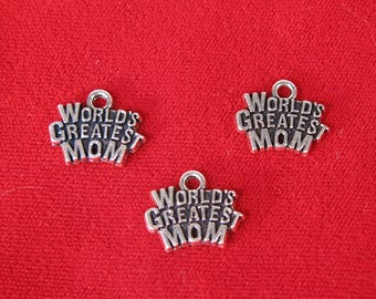 """10pc """"World's greatest mom"""" charms in silver style (BC1354)"""