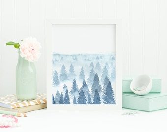 Printable blue forest, blue misty forest, pine tree silhouettes, tree watercolor painting, foggy forest, printable watercolor forest